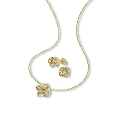 Halskette & Ohrstecker 375/- Gold Schmuckset