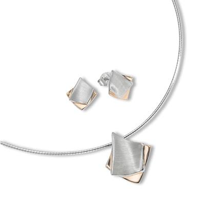 Halskette & Ohrstecker 925/- Sterling Silber Bicolor